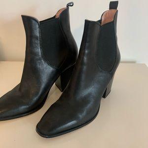Zara Black Leather Healed Booties